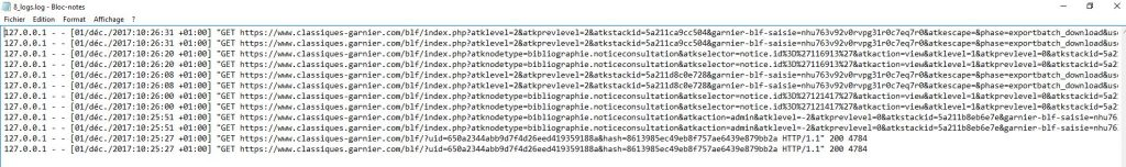 garnier numerique ezlogger fichier log navigation