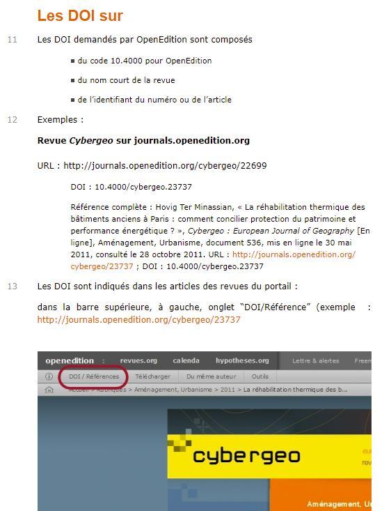openedition doi infos