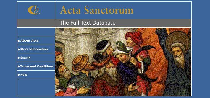 acta sanctorum homepag