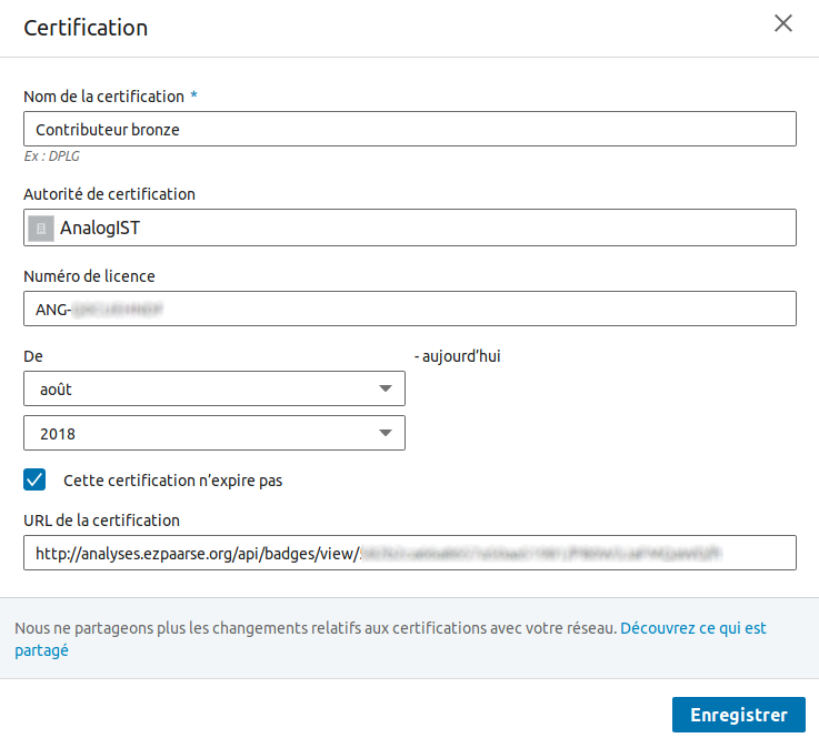 linkin formulaire de certification