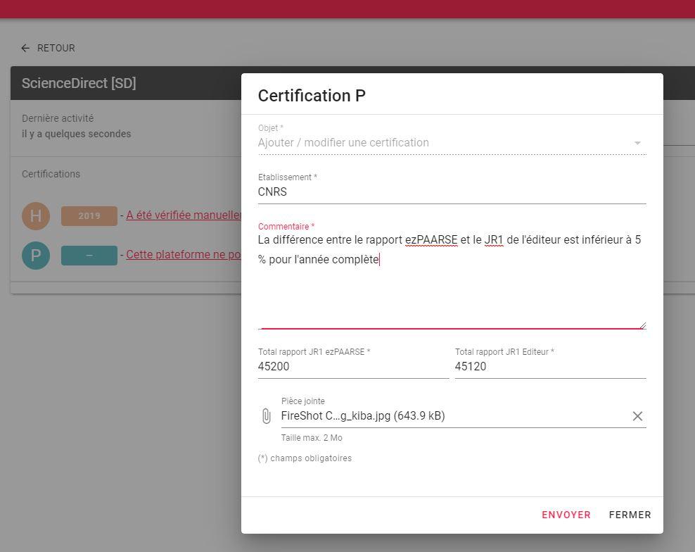 formulaire certification P