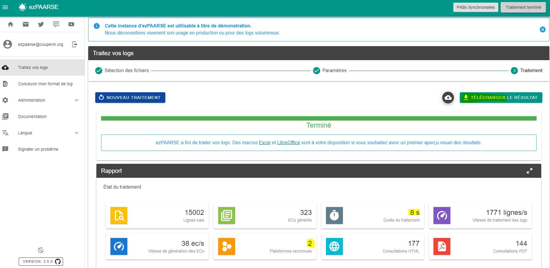 ezpaarse resultat traitement filter platform 2020